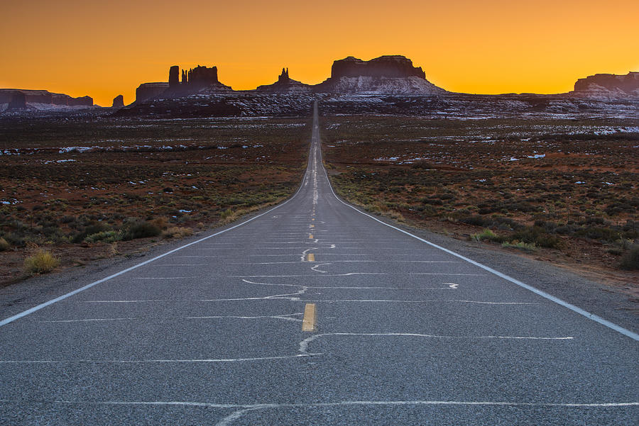 Utah Photograph - The Long Road to Monument Valley by Larry Marshall