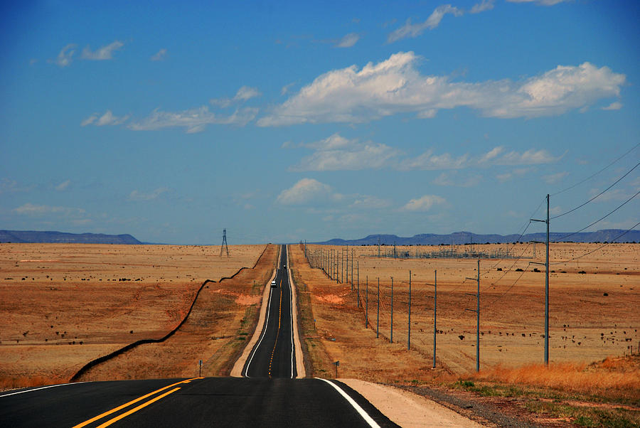 Long Road Photograph - The Long Road To Santa Fe by Susanne Van Hulst