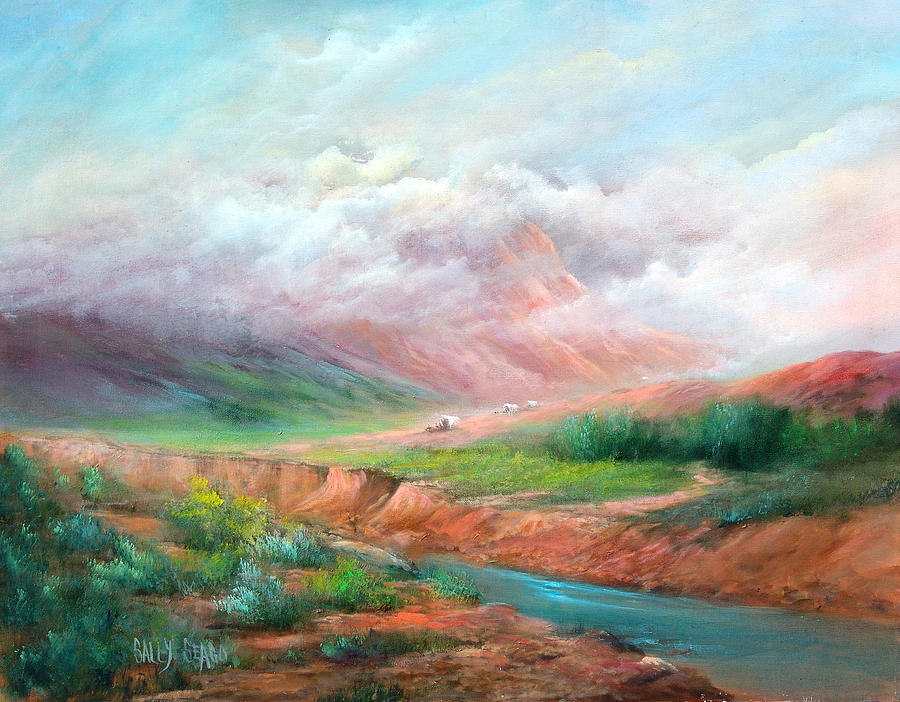 Covered Wagon Painting - The Long Trail by Sally Seago