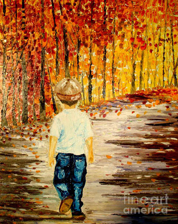 Boy Painting - The Long Way Home by Inna Montano
