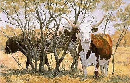 Cattle Painting - The Longhorns by Bassel Wolfe