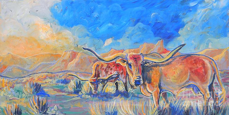 Longhorn Cattle Painting - The Longhorns by Jenn Cunningham