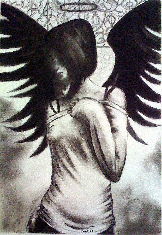 Angel Painting - The Lost Angel by Amith GC
