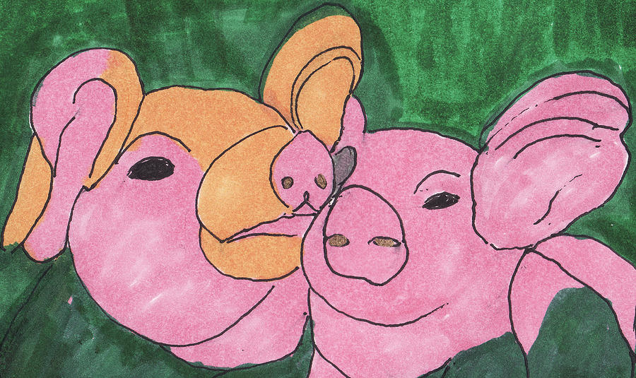 Landscape Painting - The Love Piglets by Golden Dragon