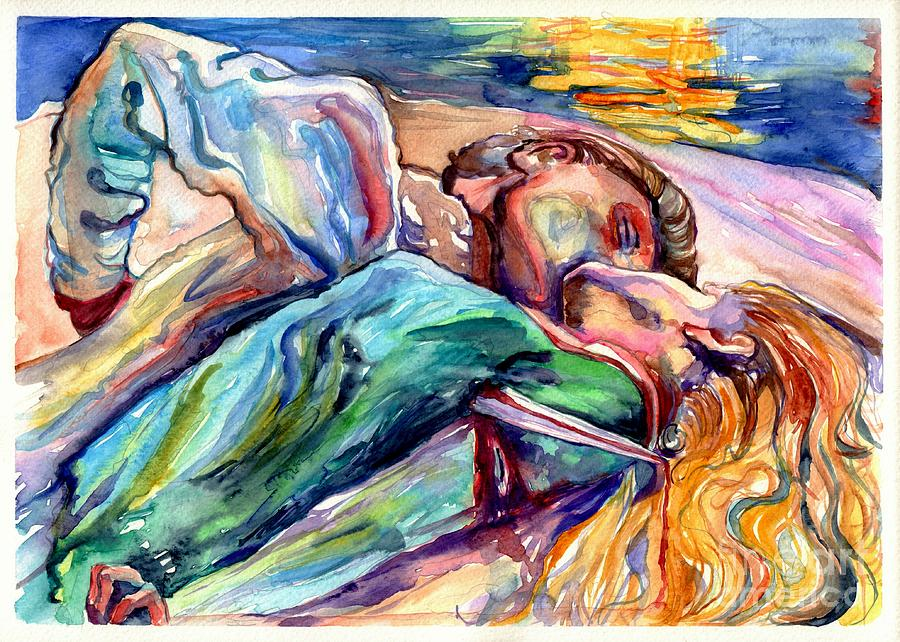 Akseli Gallen-kallela Painting - The Lovers Watercolor by Suzann Sines