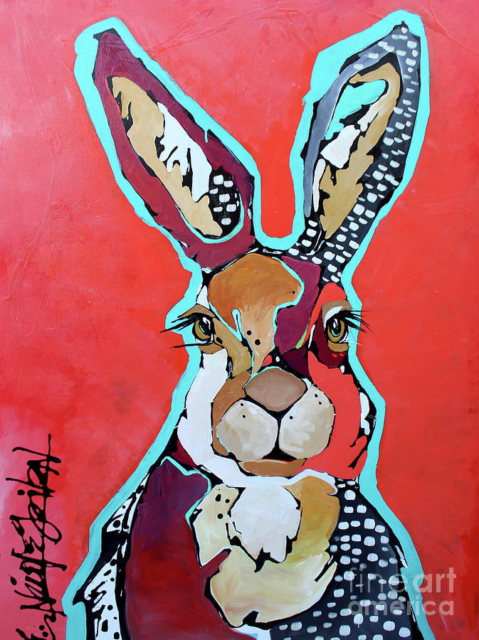 Rabbit Painting - The Lucky One by Nicole Gaitan