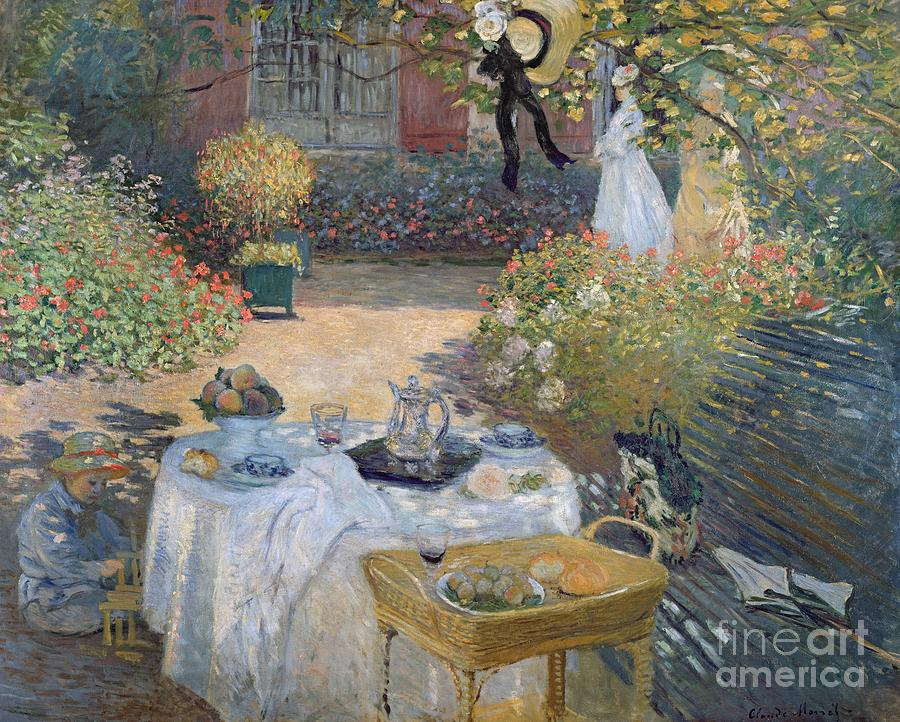 The Luncheon: Monet's Garden At Argenteuil Painting - The Luncheon by Claude Monet