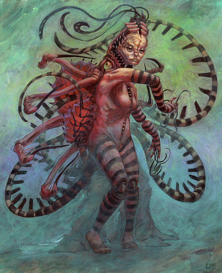 Woman Painting - The Lure Mimic by Ethan Harris