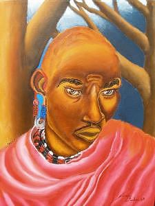 The Maasai Warrior Painting by Portland Art Creations
