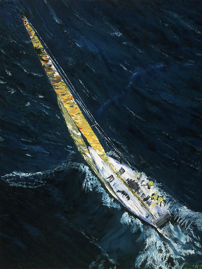 Sailboat Painting - The Mac. Chicago To Mackinac Sailboat Race. by Gregory Allen Page