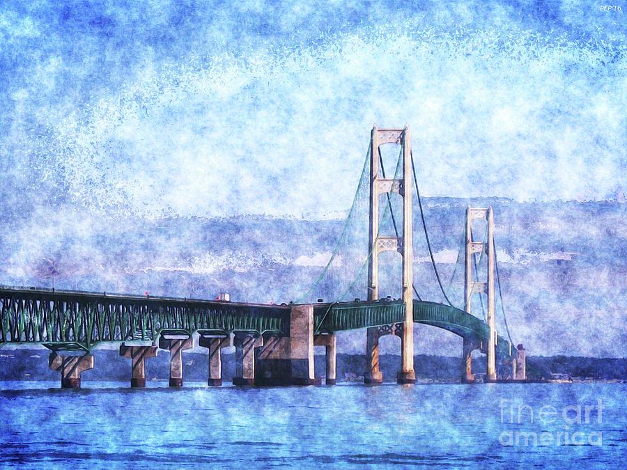 Mackinac Bridge Digital Art - The Mackinac Bridge by Phil Perkins