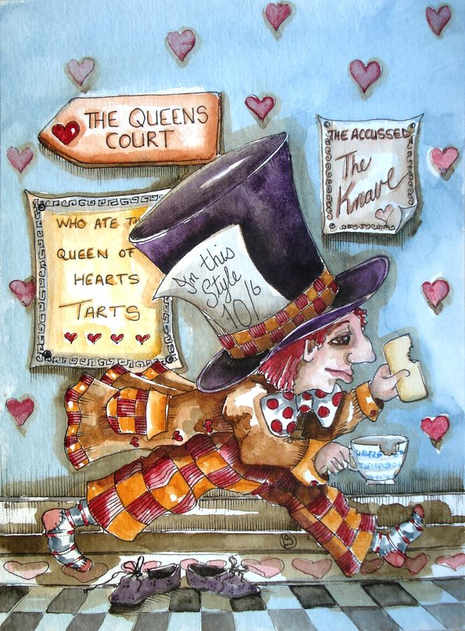 Alice In Wonderland Painting - The Mad Hatter - In Court by Lucia Stewart