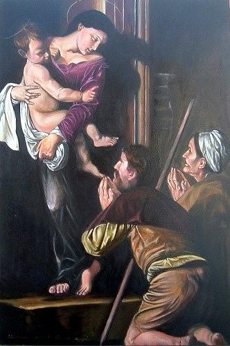 Caravaggio Painting - The Madonna Recievig Pilgrims After Caravaggio by Hidemi