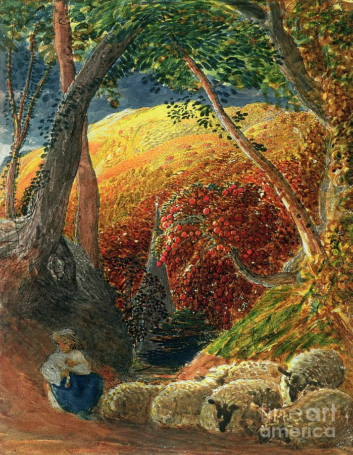 Tree Painting - The Magic Apple Tree by Samuel Palmer