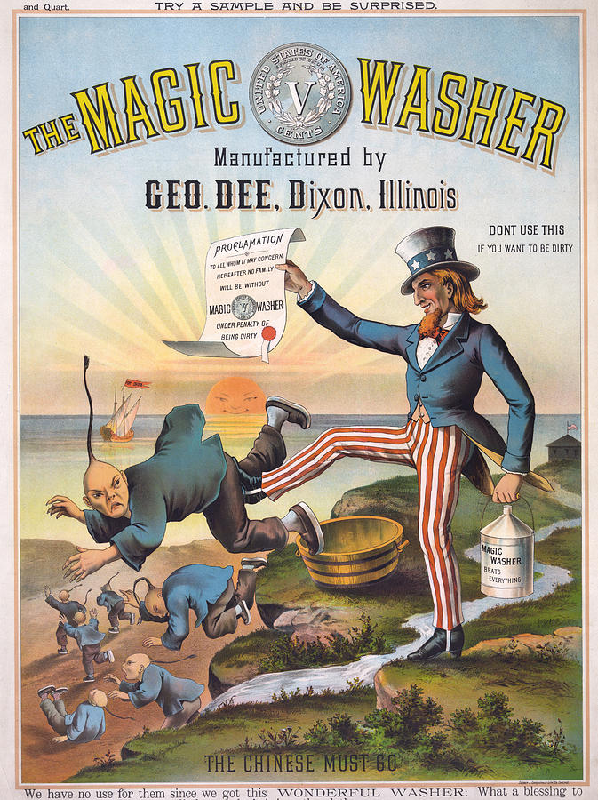 1880s Photograph - The Magic Washer. The Chinese Must Go by Everett