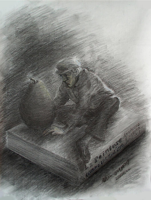 Symbolism Drawing - The Magnificent Professor Of Painting Ecstatically Contemplating A Pear by Odysseus Yakoumakis
