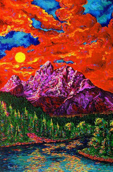 Landscape Painting - The Magnificent Tetons by Max R Scharf