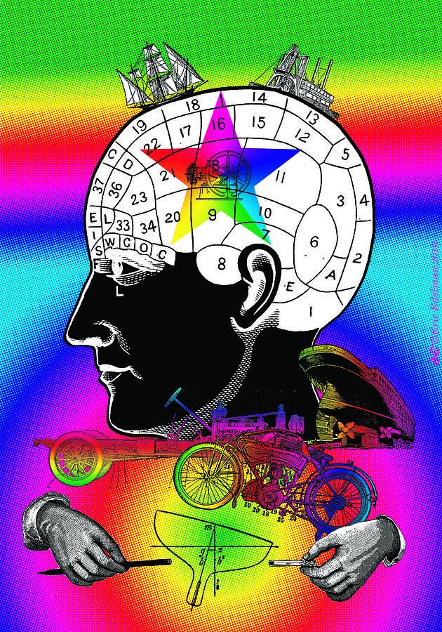 Phrenology Digital Art - The Main Idea by Eric Edelman