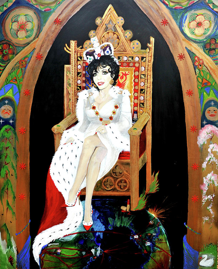 Joan Painting - The Majestic Joan Collins D B E by Michelle Deyna-Hayward
