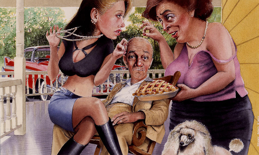Caricature Painting - The Man And His Sweethearts by Denny Bond