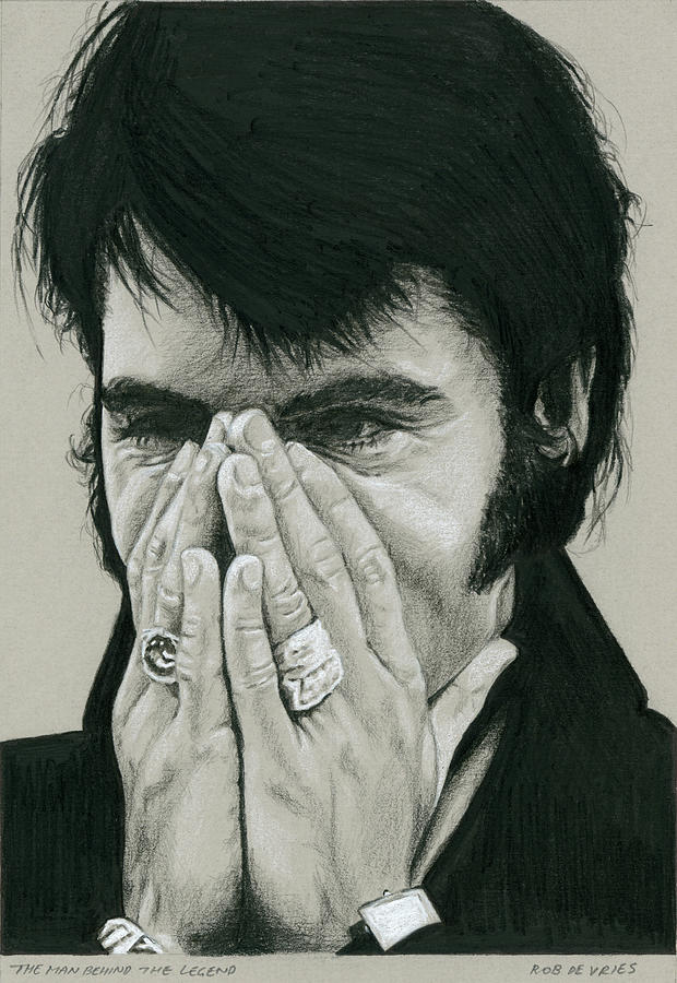 Elvis Drawing - The man behind the Legend by Rob De Vries