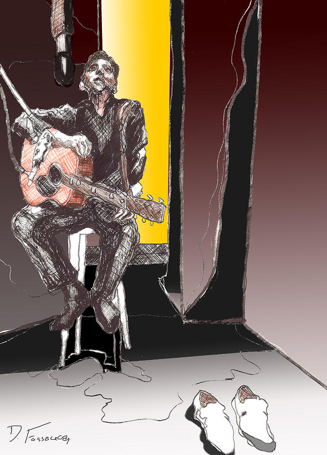 Acoustic Guitar Digital Art - The Man In Black by David Fossaceca