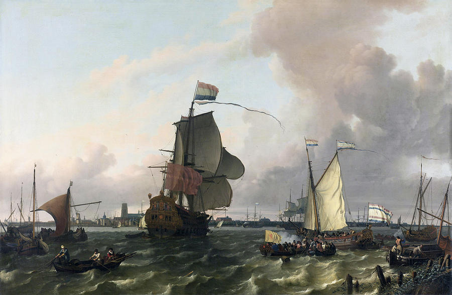 Man-of-war Painting - The Man-of-war Brielle On The River Maas Off Rotterdam by Ludolf Bakhuysen