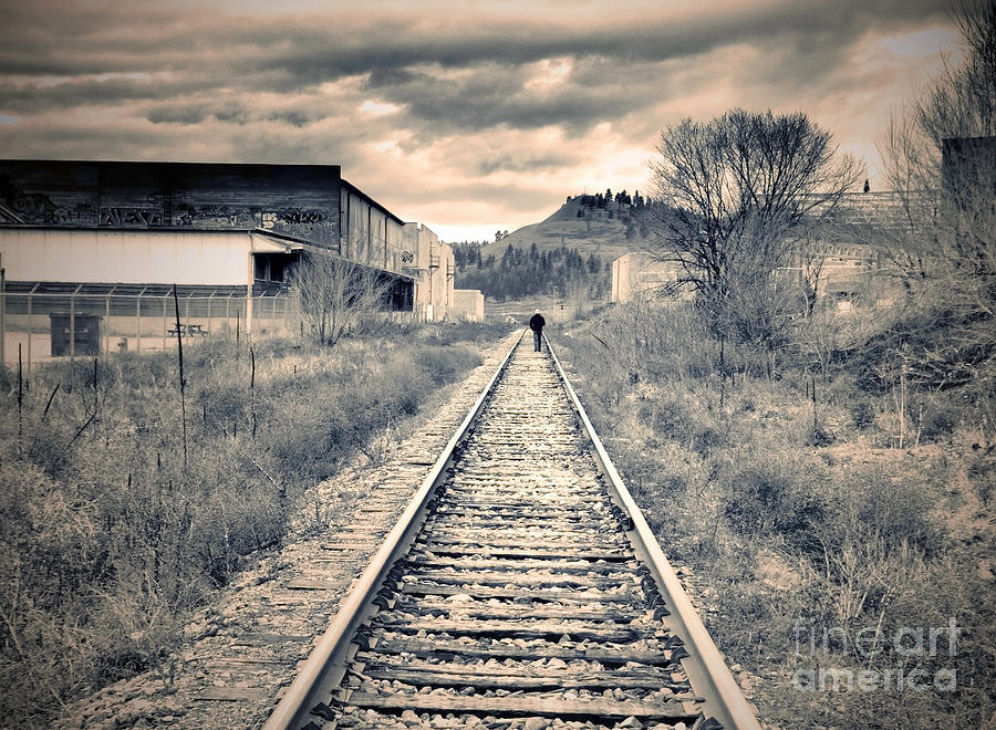 Railway Photograph - The Man On The Tracks by Tara Turner