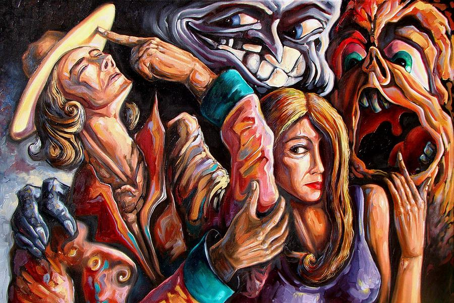 Satire Painting - The Manipulation From The Anti-consciousness Monsters by Darwin Leon