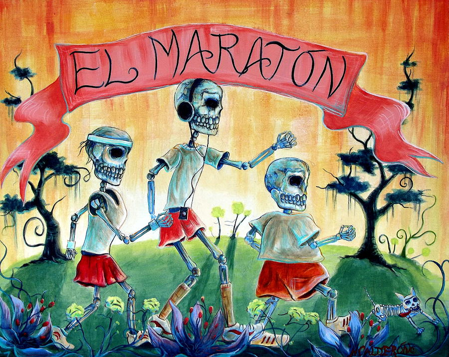 Day Of The Dead Painting - The Marathon by Heather Calderon