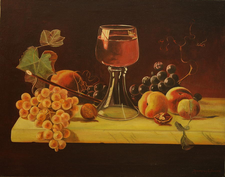 Still Life Painting - The Marble Table by Rosencruz  Sumera