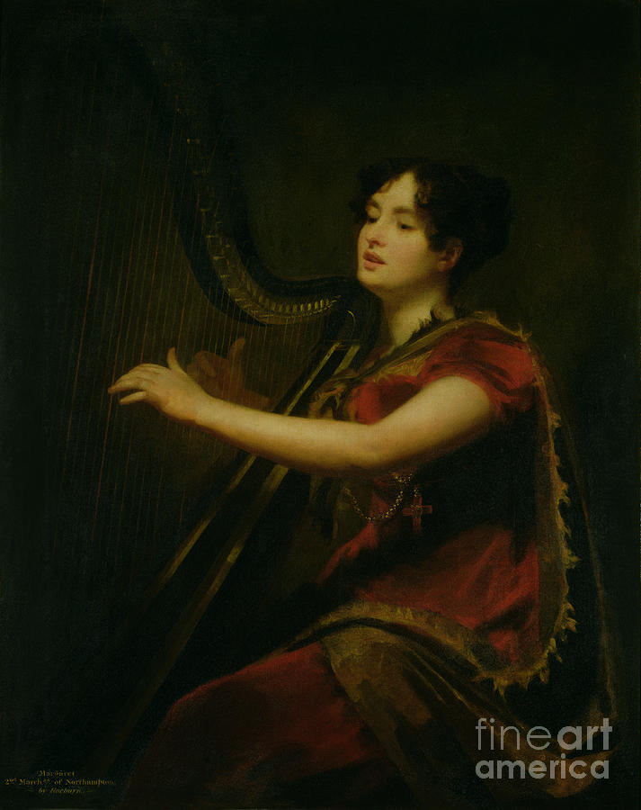 The Painting - The Marchioness Of Northampton Playing A Harp by Sir Henry Raeburn