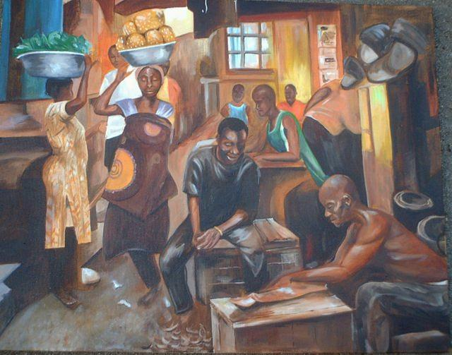 Market Painting - The Market by Gwendolyn Frazier