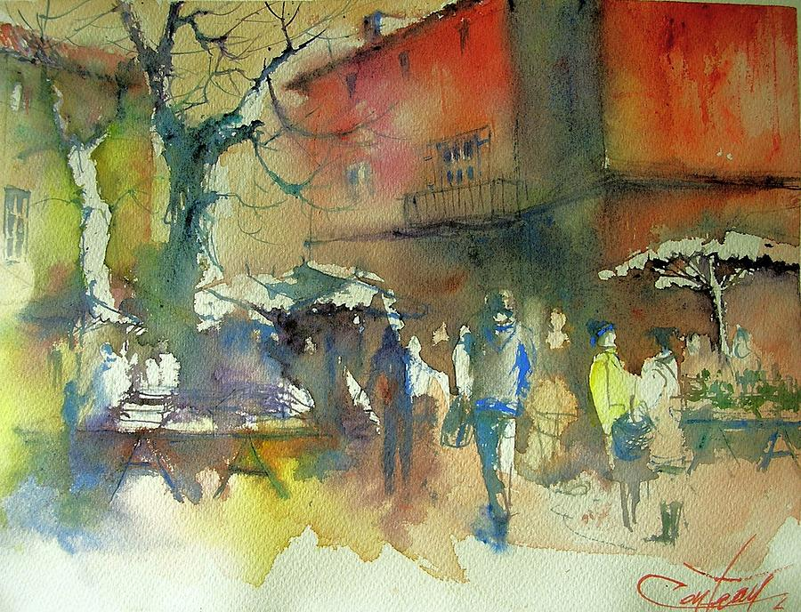 Watercolor Painting - The Market In Winter by Christian Couteau