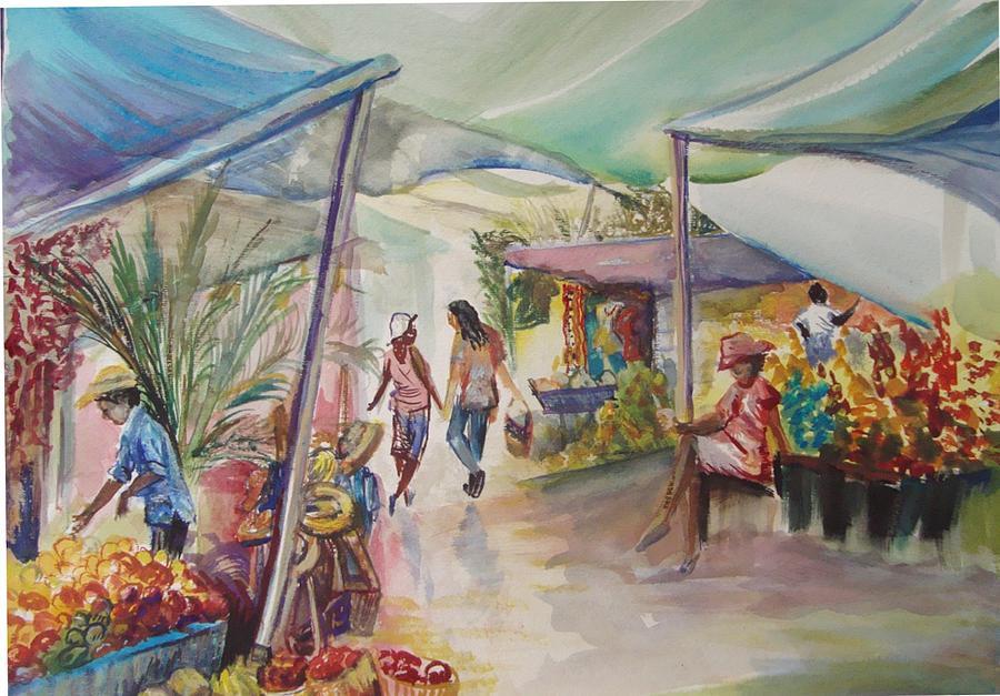 Open Market Painting - The Market by Shelley Capovilla