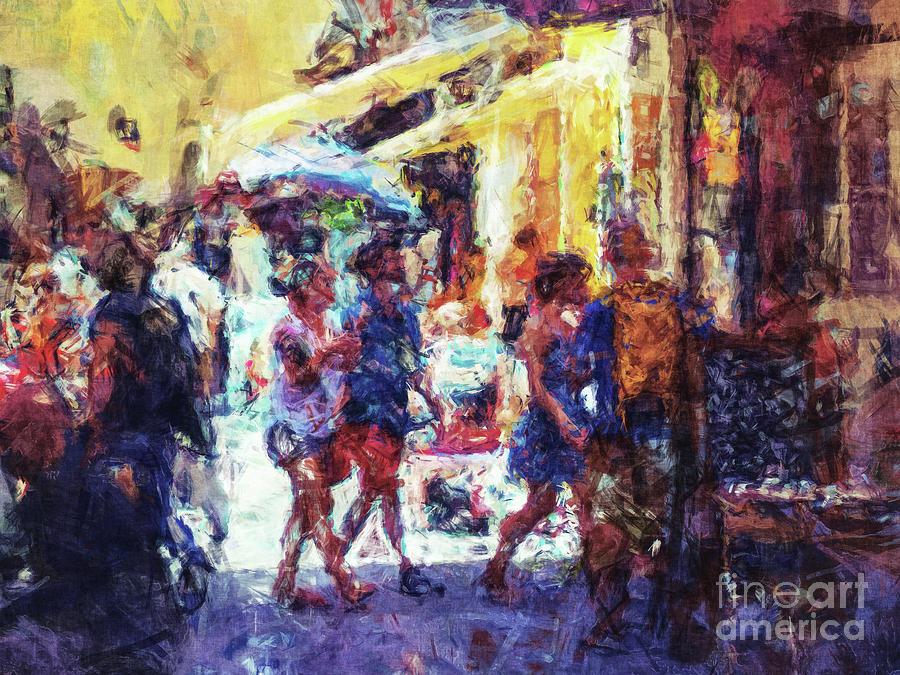 Digital Watercolor Digital Art - The Marketplace by Phil Perkins
