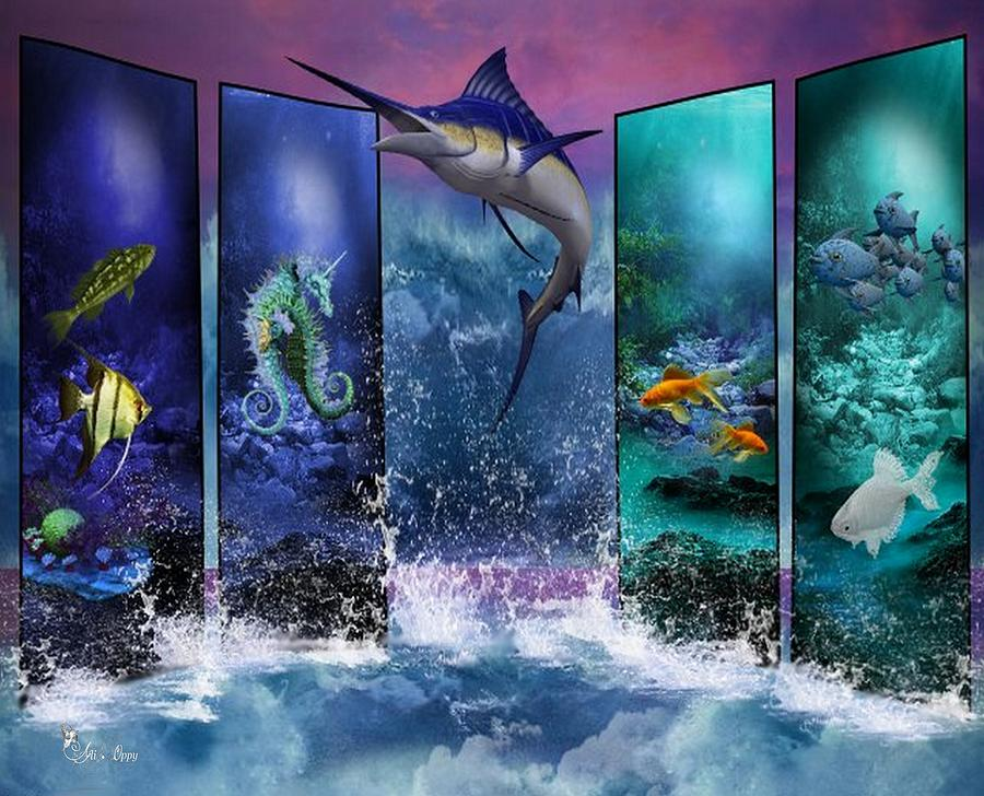 The Marlin And His Sea Friends  Digital Art by Ali Oppy