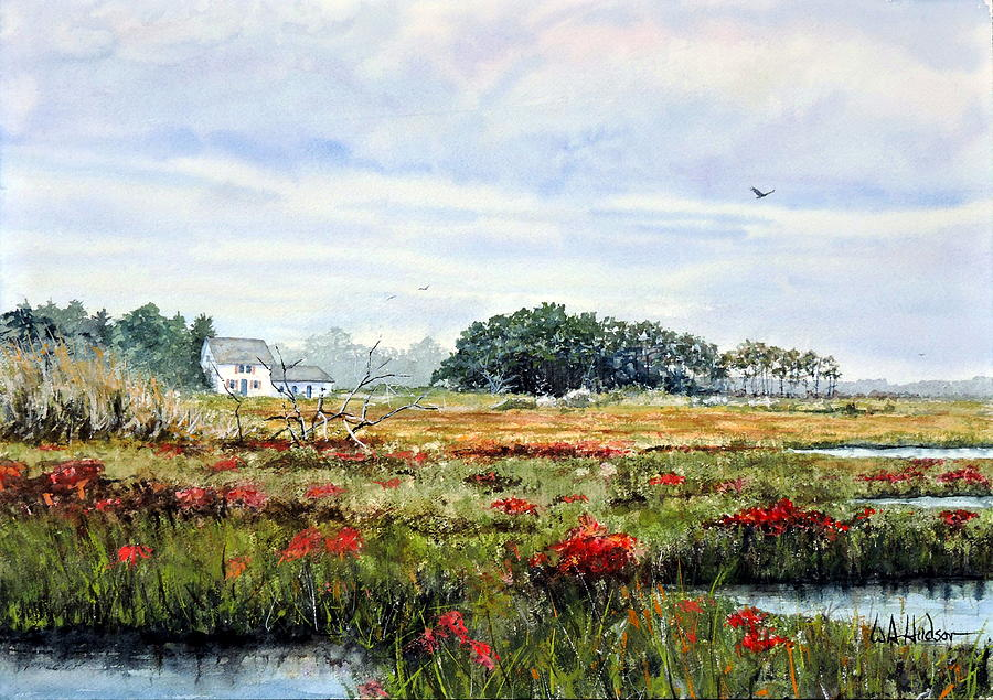 Maritime Painting - The Marsh In Bloom by Bill Hudson