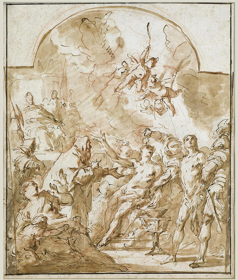 Religious Drawing - The Martyrdom of Saints Felix and Fortunatus by Gaspare Diziani