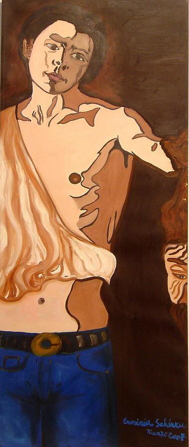 Figurative Painting - The Mask Man by Erminia Schirru