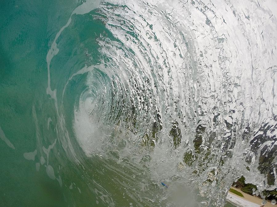 Wave Photograph - The Massive Backwash Barrel  by Benen  Weir