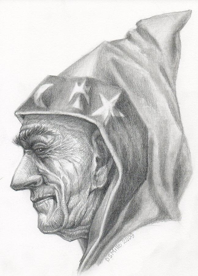 Wizard Drawing - The Master by Dan Mills