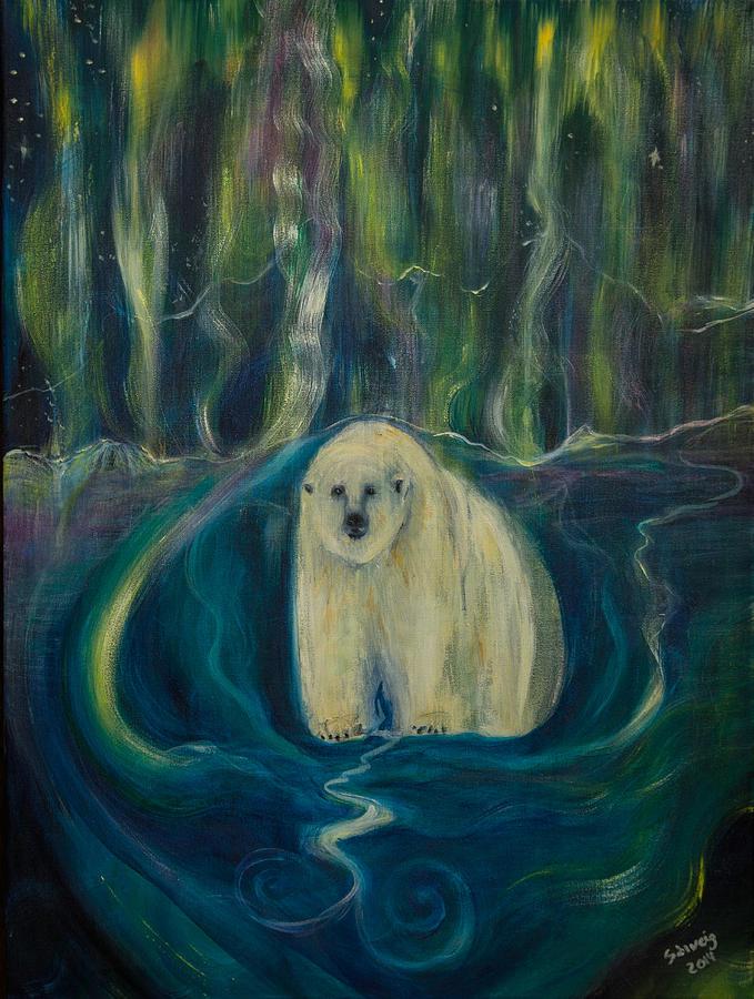 Днем рождения, картинки белые медведи северное сияние мультяшные