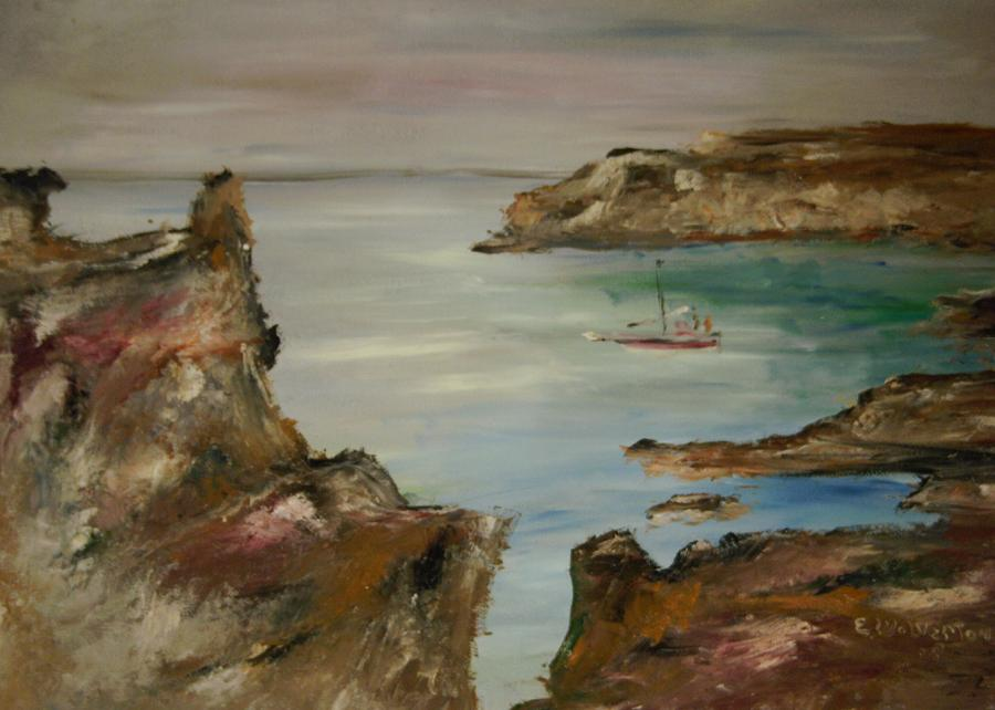 Seascape Painting - The Mediteranean Coastline by Edward Wolverton