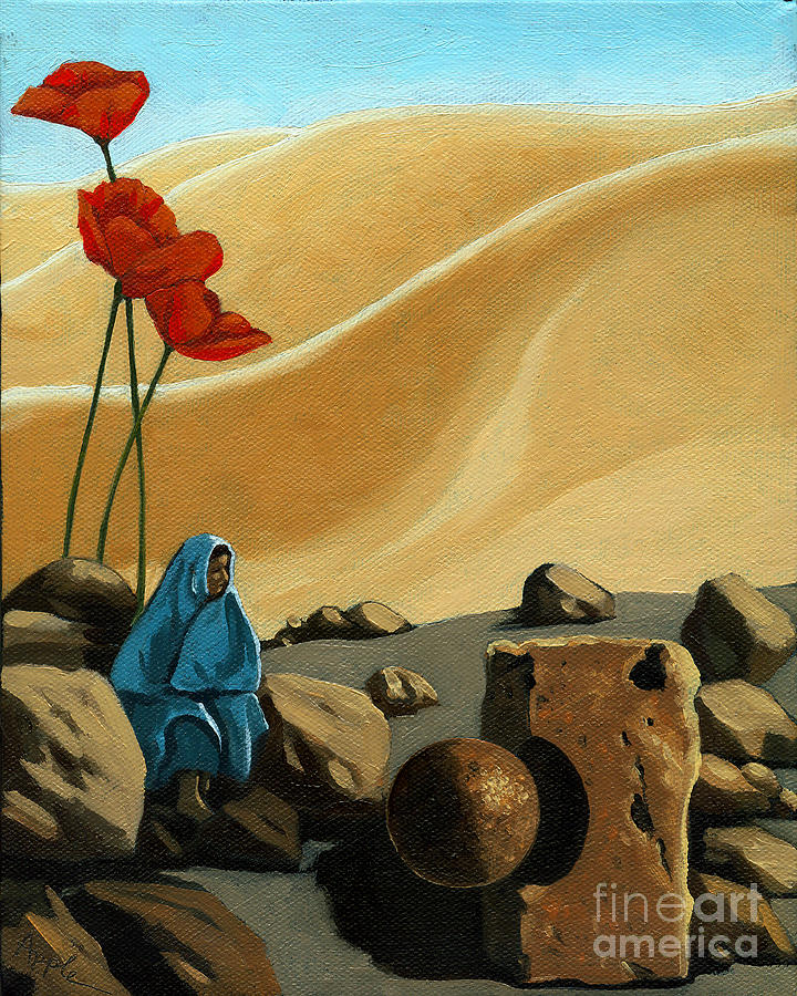 Woman Painting - The Meeting - surreal figurative fantasy by Linda Apple