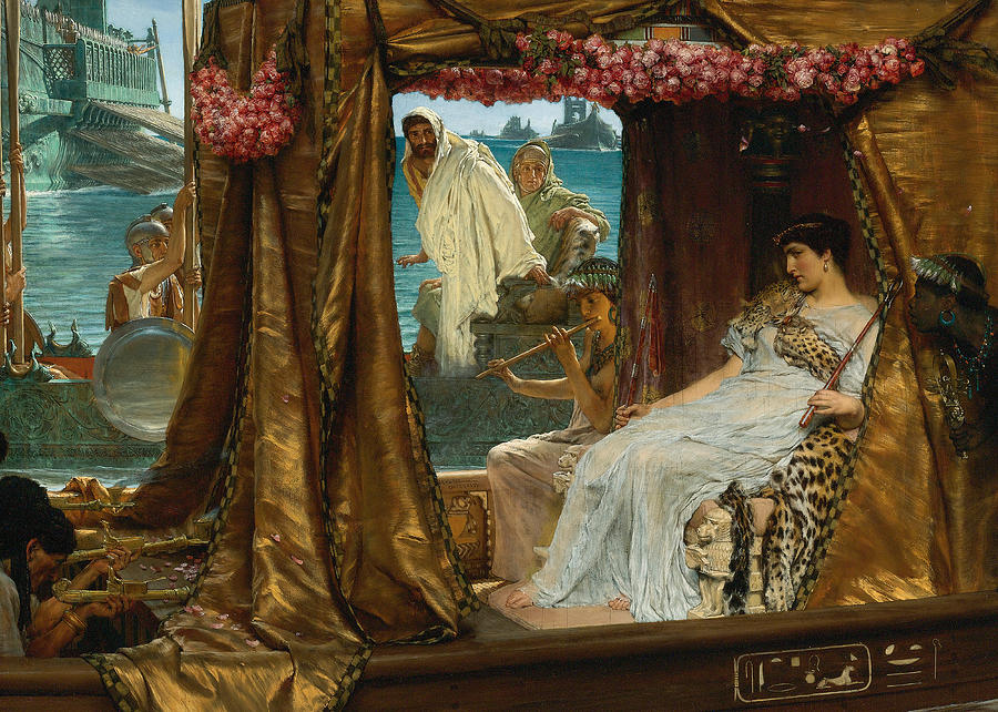Lawrence Alma-tadema Digital Art - The Meeting of Antony and Cleopatra by Lawrence Alma-Tadema by Sarah Vernon