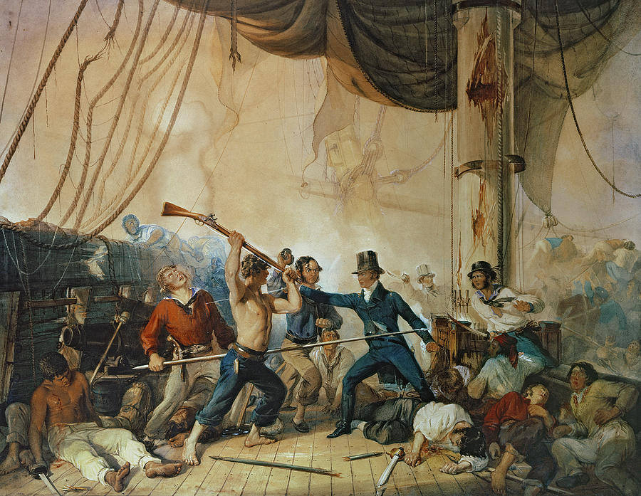 The Painting - The Melee On Board The Chesapeake by Anonymous
