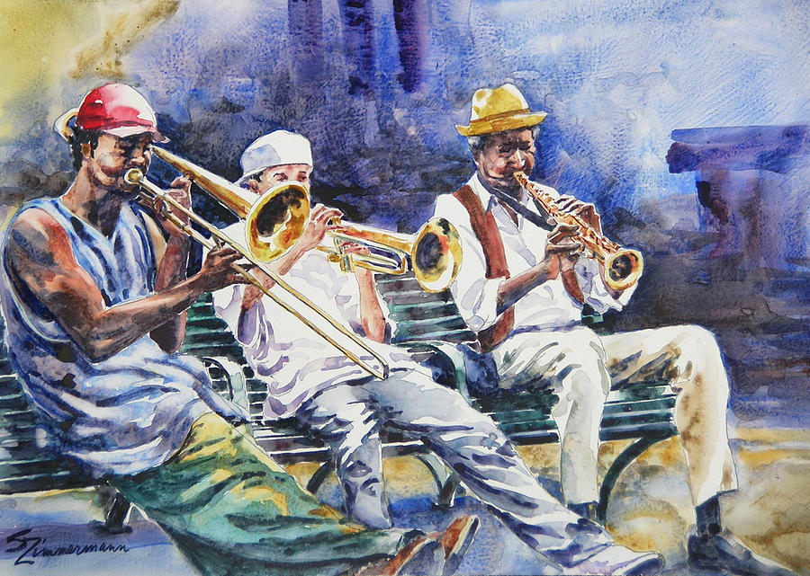 Dixieland Jazz Painting - The Mentor by Sue Zimmermann