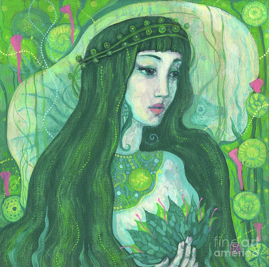 Undine Painting - Green Mermaid, Imaginary Portrait, Fantasy Art by Julia Khoroshikh