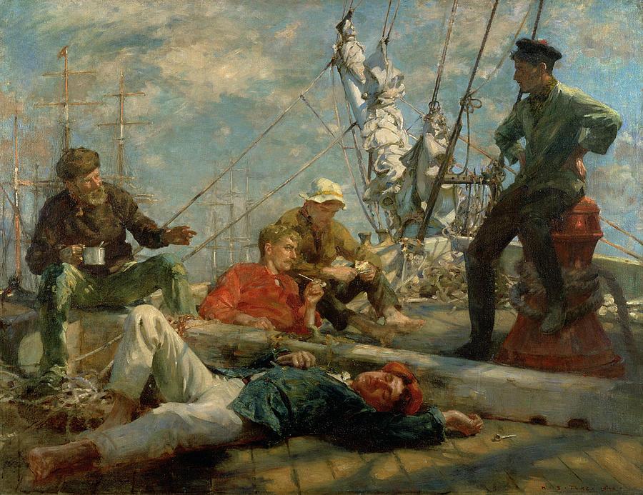 Henry Scott Tuke Painting - The Midday Rest Sailors Yarning by Henry Scott Tuke
